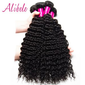 AliBele Deep Wave Brazilian Hair Weave Bundles 100% Human Hair Bundles Extensions Cutile Kept Remy Hair Weaves Can Be Colored