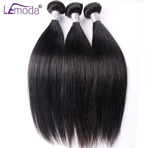 Le Moda Brazilian Straight Hair Weave Bundles Guarantee 100% Human Hair Extensions thick Remy Hair Bundle 100g Per PC