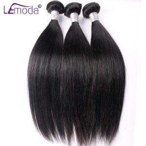 Le Moda Brazilian Straight Hair Weave Bundles Guarantee 100% Human Hair Extensions thick Remy Hair Bundle 100g Per PC