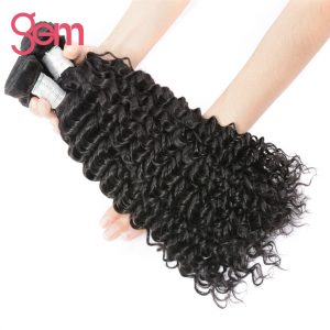 Brazilian Curly Weave Remy Hair Bundles 1pcs Natural Black Hair Can Be Bleached GEM Hair Products 100% Human Hair Extensions 1b