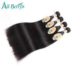 """Ali Berrys Brazilian Hair Weave Bundles 8""""-28"""" Remy Brazilian Straight Hair Bundles Natural Color Straight Human Hair Weave"""