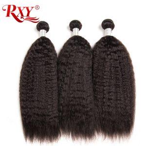 RXY Kinky Straight Hair 1PC Brazilian Hair Weave Bundles 10''-28'' 100% Human Hair Bundles Natural Color Remy Hair Weaving