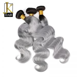 Ombre Brazilian Hair Bundles 1B/Grey Remy Body Wave Weaving Natural Human Hair Weave Bundles 1PC Extension Sliver Gray JK Hair