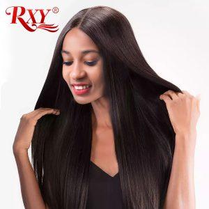 Rxy Brazilian Straight Hair Weave Bundles 100% Human Hair Weaving 1pc 10-28inch Natural Color #1B Remy Hair Bundles No Shedding