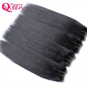 Dreaming Queen Hair Brazilian Permed Light Yaki Straight Human Hair Extension 100%  Remy Hair Weave Bundles Natural 1 Pcs