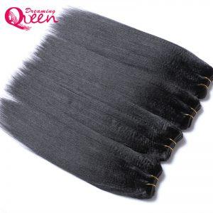 Dreaming Queen Hair Brazilian Permed Light Yaki Straight Human Hair Extension 100%  Remy Hair Weave Bundles Natural 1 Pcs