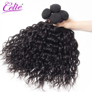 Celie Hair Water Wave Bundles Natural Color Brazilian Hair Weave Bundles 100% Remy Human Hair Extensions No Shedding No Tangle