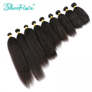 Slove Rosa Coarse Yaki Kinky Straight Brazilian Italian Yaki Remy Hair Extensions Double Weft Weaving 8-30 Inches Can Be Dyed
