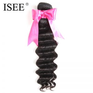 ISEE HAIR Brazilian Loose Wave Hair Weave Bundles 100% Remy Human Hair Extension Natural Color Free Shipping