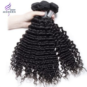 Modern Show 100% Brazilian Curly Weave Human Hair Bundles Remy Hair Weave Bundles 1Pc 10-28 Inch Natural Black 1B Can be Dyed