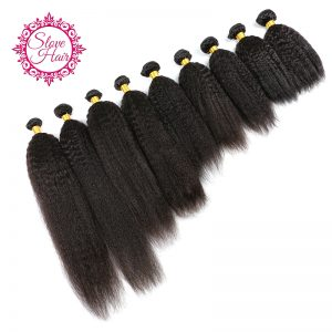 Slove Hair Brazilian Kinky Straight Human Hair Weave Bundles 1PC 100% Remy Hair Extensions Natural Black Color For African Women