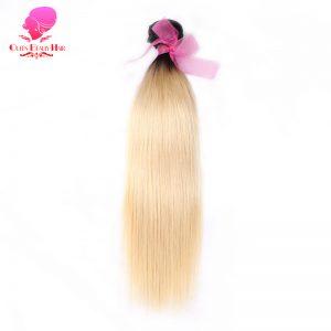 QUEEN BEAUTY HAIR Ombre Brazilian Hair 2 Tone T1B/613 Dark Roots Platinum Blonde Bundles Straight Remy Human Hair Weave
