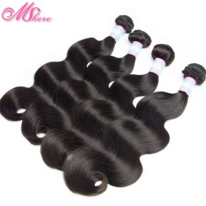 Mshere Hair Brazilian Body Wave Remy Hair Extension Can Be Dyed Bleached 1 piece Human Hair Bundle 1b# Natural Black Double Weft