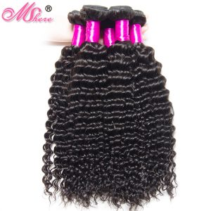Mshere Remy Deep Curly Hair Bundle Brazilian Human Hair Weave Natural Black Hair Extensions Can Be Dyed Bleached 1Pcs Hair Weft