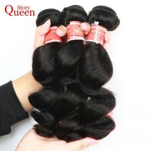 Queen Story Brazilian Loose Wave Bundle Deals,Natural Black Color 1 Piece Human Hair Bundles Free Shipping Remy Hair Weave