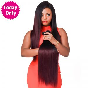 [TODAY ONLY] Burgundy Brazilian Straight Hair Ombre Human Hair Weave Bundles Two Tone 1b 99J Non Remy Hair Can Buy 3 or 4 Pcs