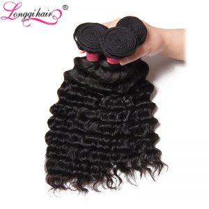 Longqi Hair Deep Wave Brazilian Hair Weave Bundles 100% Human Hair Weaving 12-26 Inch Machine Double Weft Non-Remy Hair