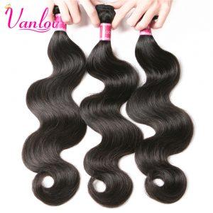 Vanlov Brazilian Body Wave Bundles Jet Black Brazilian Human Hair Weave Bundles Hair Extension Non Remy Can Buy 3 or 4 PCS