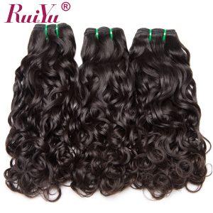 RUIYU 100% Human Hair Bundles Water Wave Brazilian Hair Weave Bundles Non Remy Hair Extensions 1PC/Lot Can Buy 3 / 4 / 5 Bundles