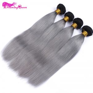 1B/ Grey Straight Human Hair Ombre Brazilian Human Hair Weave Gray Color Ombre Hair Extensions Non Remy Dreaming Queen Hair