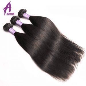 Brazilian Straight Hair Bundles Human Hair Weave Bundles Machine Double Weft Hair Extension Alimice Non-Remy Hair Natural Color