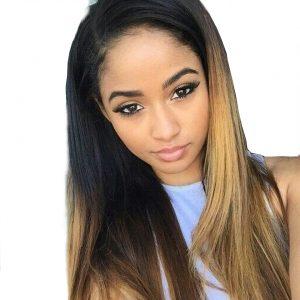 SAY ME Ombre Brazilian Straight Hair Blonde 100% Human Hair Weave Bundles Three Tone Non-Remy 1b/4/27 Light Brown Hair Weaving