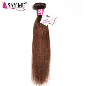 SAY ME Brazilian Straight Hair Weave Bundles Light Brown 1 PC Non-Remy Human Hair Extensions Can Buy 3/4 Human Hair Bundles