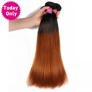 [TODAY ONLY] Ombre Brazilian Straight Hair Bundles 100% Human Hair Weave Bundles Two Tone 1b 30 Non Remy Hair Can Buy 3 or 4 Pcs
