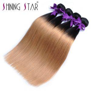 T1B 27 Honey Blonde Ombre Brazilian Hair Weave Bundles Straight Human Hair Weave Ombre 1Pcs Lot Shining Star Non Remy Fast Ship
