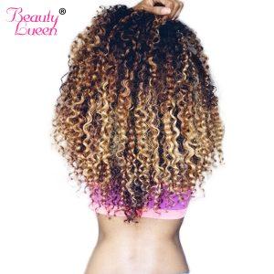 Beauty Lueen Brazilian Deep Wave Ombre Human Hair Bundles 3 Tone Blonde Hair Extension Non Remy Hair Weave Can Buy More Piece