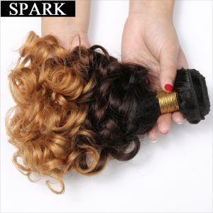 """Spark 1B/4/27 Ombre Brazilian Bouncy Curly 3 Tone Non Remy Human Hair Extensions 1PC 12""""-26"""" Hair Weave Bundles Free Shipping"""