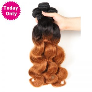 """[TODAY ONLY] Brazilian Body Wave Bundles Ombre Human Hair Weave Bundles Tow Tone 1b 30 Non Remy Hair 8""""-26"""" Can Buy 3 or 4 Pcs"""