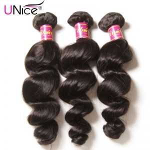 UNice Hair Company Brazilian Loose Wave Bundles Natural Color Non-remy Hair Weaving 1 Piece 100% Human Hair Extensions 16-26inch