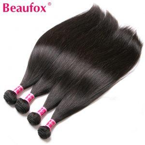 Beaufox Brazilian Hair Weave Bundles Straight Human Hair Bundles Non-remy Hair Extension Natural Color Can Buy 3 or 4 pcs