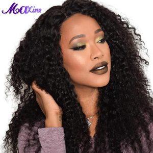 "Maxine Hair Brazilian Deep Curly Hair 1B 100% Natural Human Hair Extensions Non Remy Hair Weave Bundles 10""~28"" Inch No Tangle"