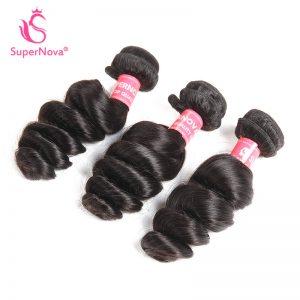 Supernova Hair Peruvian Loose Wave 1 piece Natural Black Color 100% Human Hair Bundles Free Shipping  Non-Remy Hair
