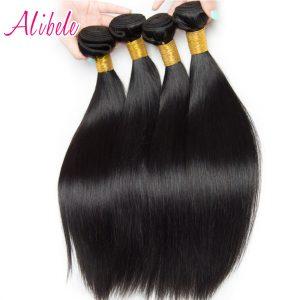 Brazilian Straight Hair Weave Bundle 100G/PC Can Buy 3or4 Bundles Non Remy Hair Extensions Alibele Hair Weave Human Hair Bundles