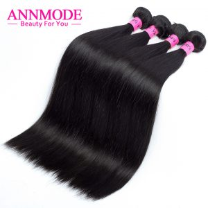 Annmode Brazilian Straight Hair Bundles Free Shipping A piece With Non-remy Human Hair Extension Can Match Closure LAST LONGER