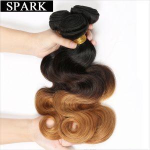 Spark Ombre Brazilian Body Wave 1PC T1B/4/27 3 Tone Non Remy Hair Bundles 100% Human Hair Weave Bundles 12-26inch Free Shipping