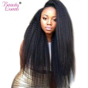 Kinky Straight Hair Brazilian Hair Weave Bundles Coarse Yaki Hair Weaving Human Hair Bundles Non Remy Extension BeautyLueen