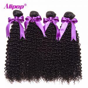 ALIPOP Brazilian Kinky Curly Hair Weave Bundles Human Hair Bundles Non Remy Hair Extensions 1PC Can Buy 3/4 Bundles No Shedding