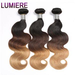 Lumiere Hair Body Wave 3 Tone Ombre Brazilian Hair Weave Bundles 1B/4/27 Non Remy Human Hair Extensions Can buy 3/4 Bundles