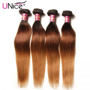 UNice Hair Company Ombre Brazilian Hair Straight Weave T1B/4/27 Non Remy Hair Bundles 100% Human Hair 1 Piece Can Mix Any Length