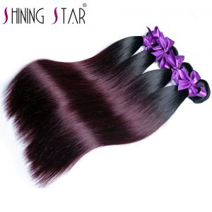 Shining Star Ombre Brazilian Straight Hair 1B 99J/Burgundy Two Tone 100% Human Hair Bundles 1Piece Non Remy Hair Free Shipping