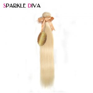 [SPARKLE DIVA HAIR] Brazilian Blonde Straight Hair 100% Human Hair Weaving 12''-24''Inches Bundles Machine Double Weft Non-Remy