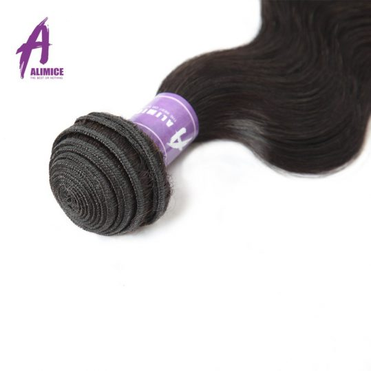 Brazilian Human Hair Body Wave Hair Weave Bundles Hair Extension Alimice Non-Remy Hair Weaving Machine Double Weft Natural Color
