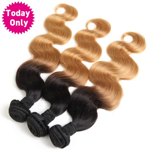 [TODAY ONLY] Blonde Brazilian Body Wave Bundles Ombre Human Hair Weave Bundles Two Tone 1b 27 Non Remy Hair Can Buy 3 or 4 Pcs