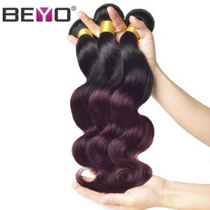 Beyo Ombre Brazilian Body Wave Hair Weave Bundles 1b Burgundy Two Tone Human Hair Extensions 1 PCS Non-Remy Hair Weaving 1b 99j