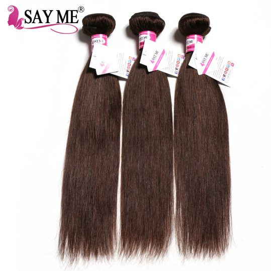 SAY ME Brazilian Straight Hair Weave Bundles Color 2 Dark Brown Colored Non-Remy Human Hair Extensions Can Buy 3/4 bundles