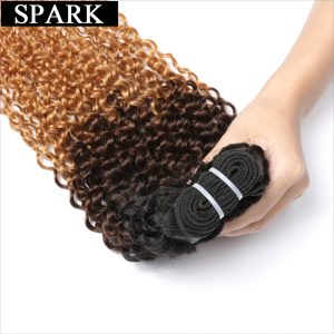 Spark 3 Tone Ombre Brazilian non Remy Hair T1B/4/27 Kinky Curly Weave Human Hair Extensions Can Buy 4 Bundles Free Shipping